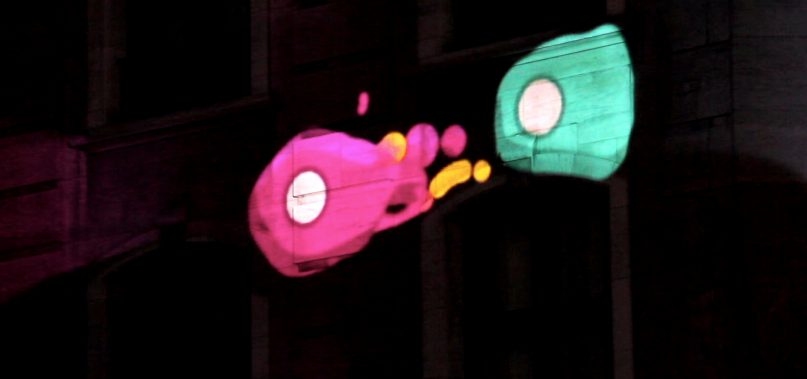 Projected animations by Mr.Beam studio during Brussels Light Festival