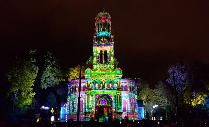 Projection mapping on church in Lodz during light festival in poland
