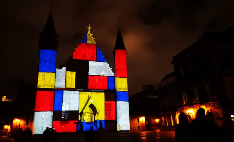 Primary colours in the style of the Dutch painter Piet Mondriaan projection onto the Ridderzaal in The Hague