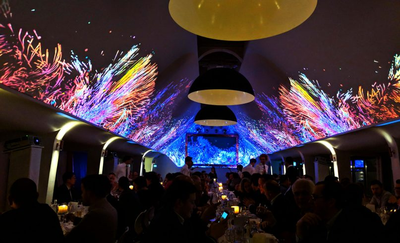 Projection mapping on roof by MrBeam studio