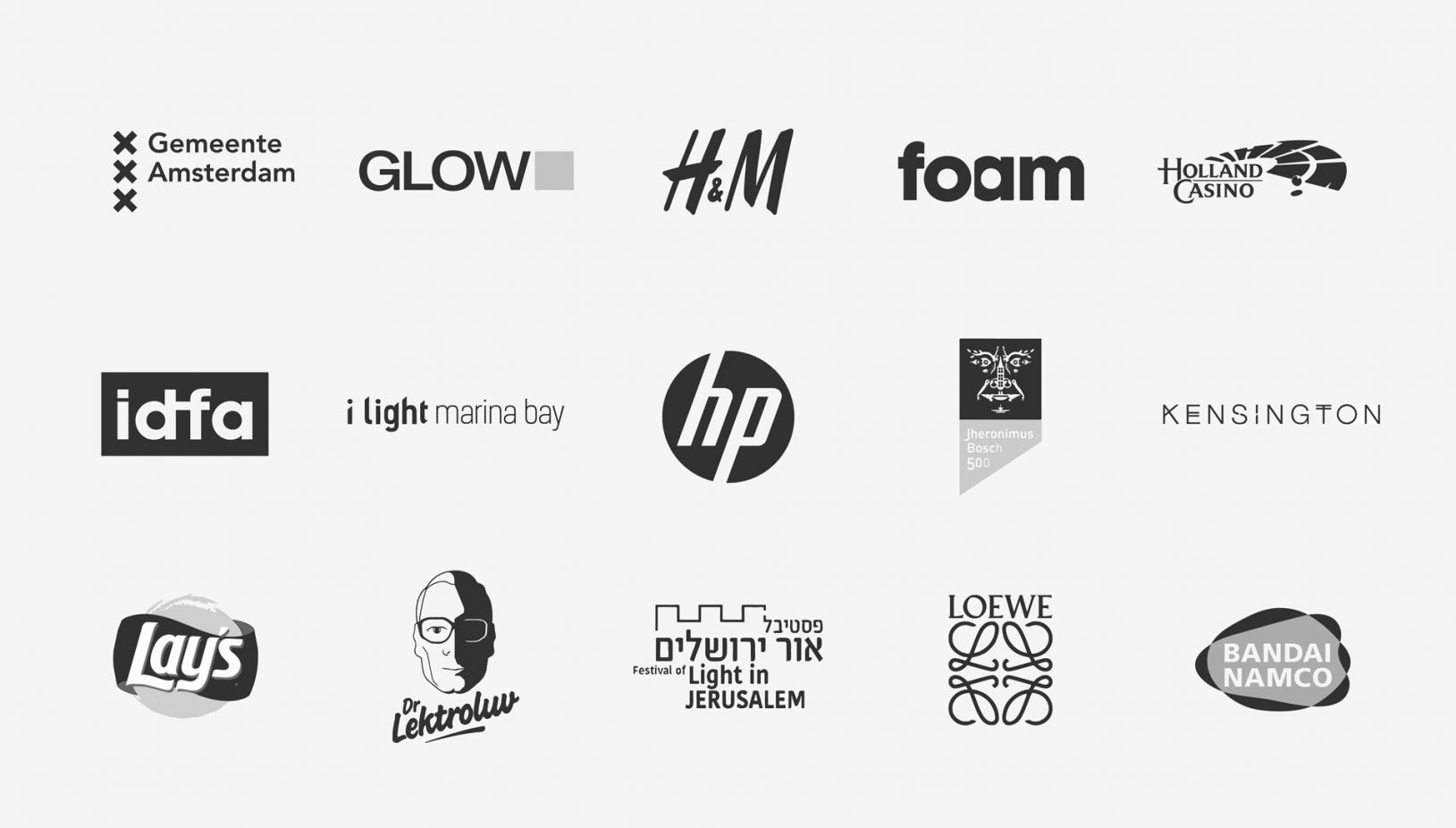 Logo's of Mr.Beam customers like Lay's, HP, Bandai Namco, Kesington, H&M, FOAM, Glow, LOEWE and Holland Casino