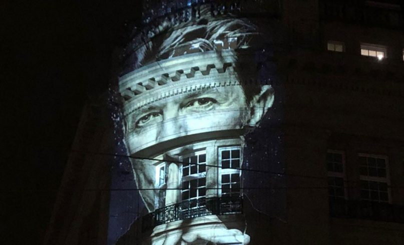 David Bowie projections on the Hirsch building in Amsterdam